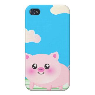 Dibujo animado lindo del cerdo iPhone 4/4S carcasas