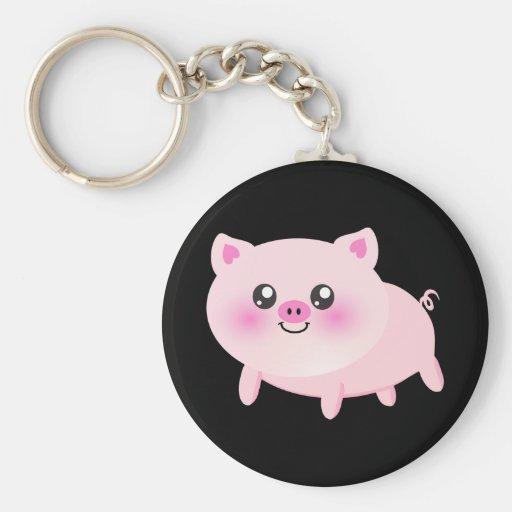 Dibujo animado lindo del cerdo llavero personalizado