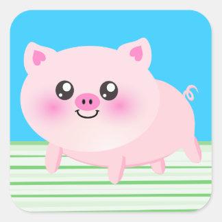 Dibujo animado lindo del cerdo colcomanias cuadradas personalizadas