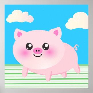 Dibujo animado lindo del cerdo póster