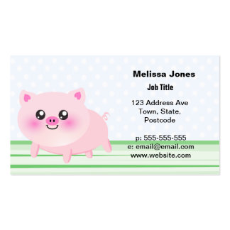 Dibujo animado lindo del cerdo tarjetas personales