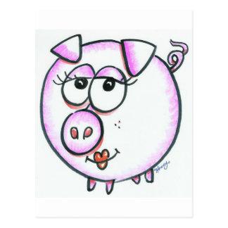 Dibujo animado lindo del cerdo postales