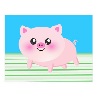 Dibujo animado lindo del cerdo tarjetas postales