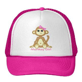 Dibujo animado lindo del chica del mono gorro de camionero
