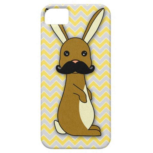 Dibujo animado lindo del conejito del bigote iPhone 5 carcasa