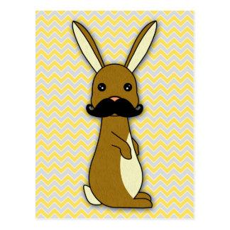 Dibujo animado lindo del conejito del bigote postal