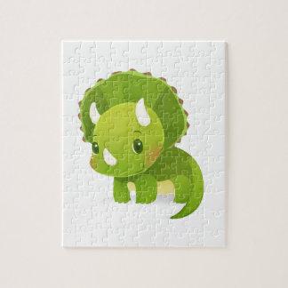 dibujo animado lindo del dinosaurio del bebé verde rompecabezas con fotos