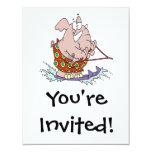 dibujo animado lindo del elefante del esquí invitación 10,8 x 13,9 cm