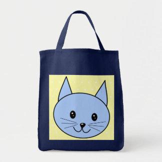 Dibujo animado lindo del gato azul bolsa tela para la compra