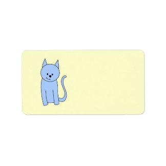 Dibujo animado lindo del gato azul etiqueta de dirección
