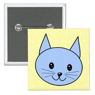 Dibujo animado lindo del gato azul pins