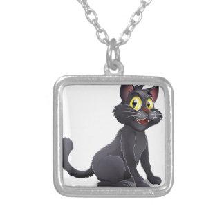 Dibujo animado lindo del gato de las brujas de Hal Colgante Cuadrado