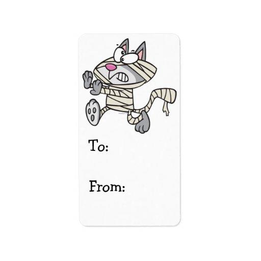 dibujo animado lindo del gato del gatito de la mom etiquetas de dirección