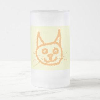 Dibujo animado lindo del gato del jengibre, en la  tazas de café