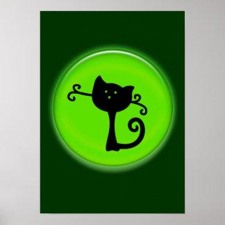 Dibujo animado lindo del gato negro en poster verd póster