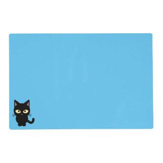 Dibujo animado lindo del gato negro tapete individual