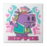 dibujo animado lindo del hipopótamo del hippie del tejas