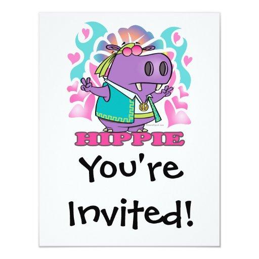 dibujo animado lindo del hipopótamo del hippie del comunicado