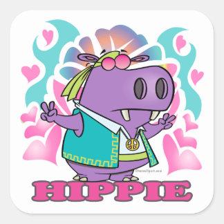 dibujo animado lindo del hipopótamo del hippie del pegatina cuadrada