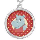 Dibujo animado lindo del hippopotamus colgante redondo