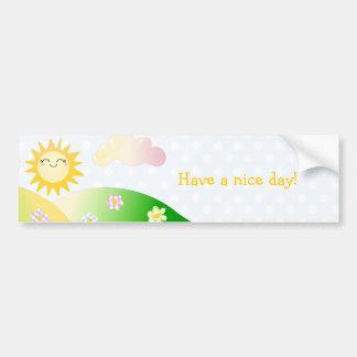 Dibujo animado lindo del kawaii del sol etiqueta de parachoque