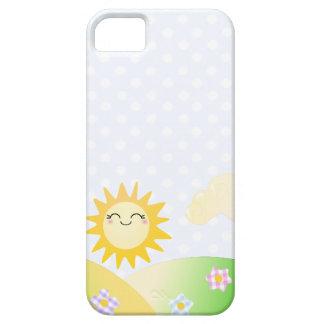 Dibujo animado lindo del kawaii del sol funda para iPhone 5 barely there