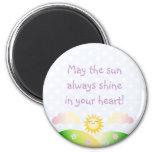 Dibujo animado lindo del kawaii del sol imán de frigorífico