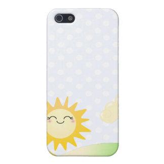 Dibujo animado lindo del kawaii del sol iPhone 5 fundas