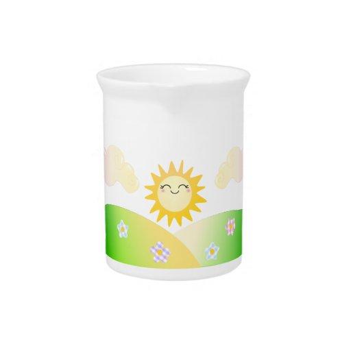 Dibujo animado lindo del kawaii del sol jarra para bebida