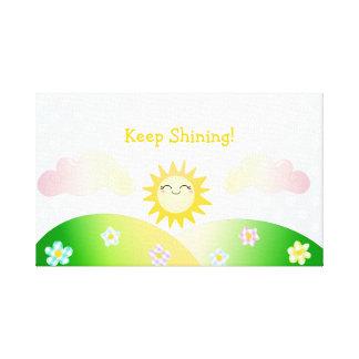 Dibujo animado lindo del kawaii del sol impresiones en lona estiradas