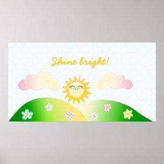 Dibujo animado lindo del kawaii del sol poster