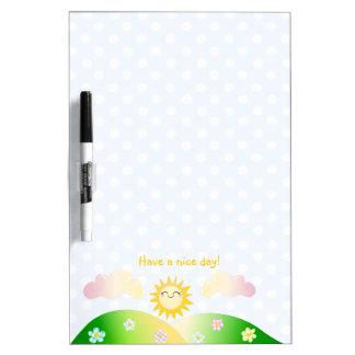 Dibujo animado lindo del kawaii del sol pizarras blancas