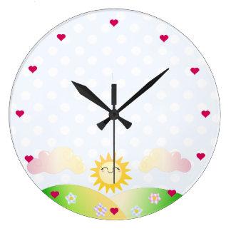 Dibujo animado lindo del kawaii del sol reloj redondo grande