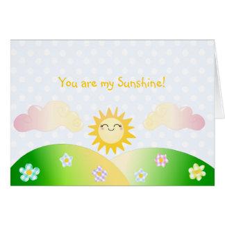 Dibujo animado lindo del kawaii del sol felicitación