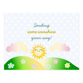 Dibujo animado lindo del kawaii del sol postal