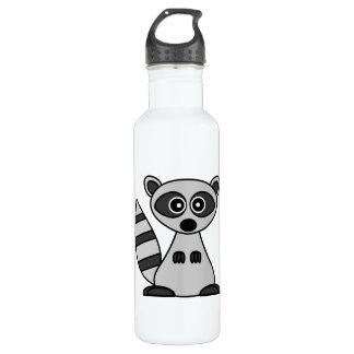 Dibujo animado lindo del mapache botella de agua
