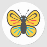 Dibujo animado lindo del monarca de la mariposa pegatina redonda