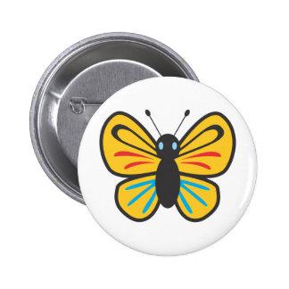 Dibujo animado lindo del monarca de la mariposa pin redondo de 2 pulgadas