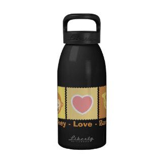 Dibujo animado lindo del mono - amor - plátano botellas de agua reutilizables