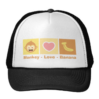Dibujo animado lindo del mono - amor - plátano gorras de camionero