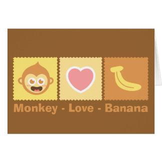Dibujo animado lindo del mono - amor - plátano tarjeta de felicitación