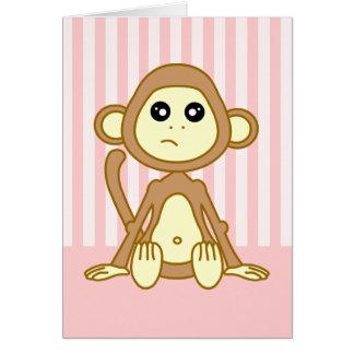 Dibujo animado lindo del mono tarjeta de felicitación