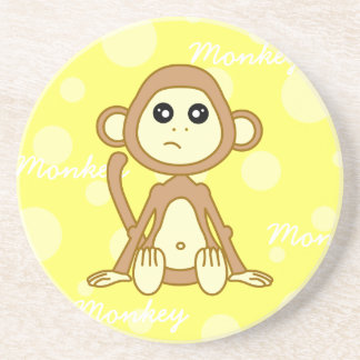 Dibujo animado lindo del muchacho del mono posavaso para bebida