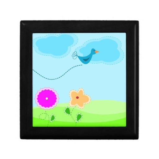 Dibujo animado lindo del pájaro y de la flor cajas de joyas