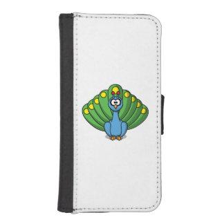 Dibujo animado lindo del pavo real carteras para teléfono