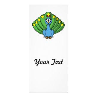 Dibujo animado lindo del pavo real tarjeta publicitaria