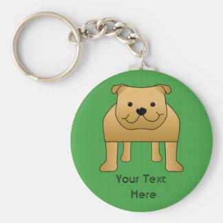 Dibujo animado lindo del perro. Dogo rojo Llavero Redondo Tipo Pin