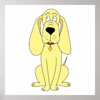 Dibujo animado lindo del perro. Perro amarillo Póster