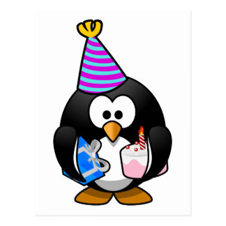 Dibujo animado lindo del pingüino del fiesta postales