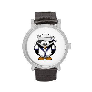 Dibujo animado lindo del pingüino del marinero relojes